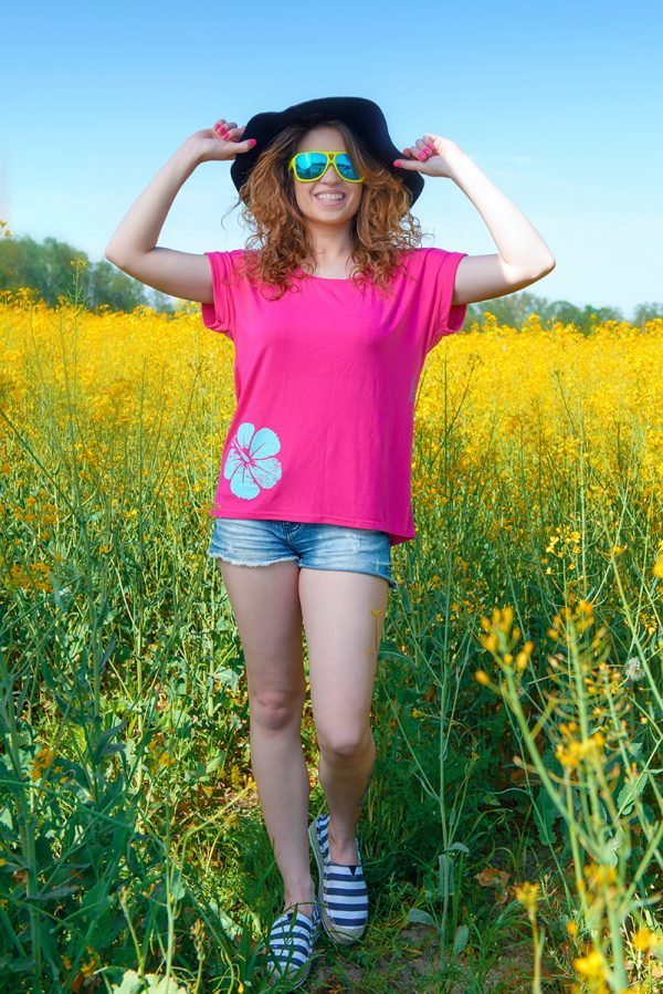 Evokaii Women Surf Style Tshirt KiteGirl Pink Front