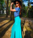 Evokaii Long Skirt Goree Blue Front