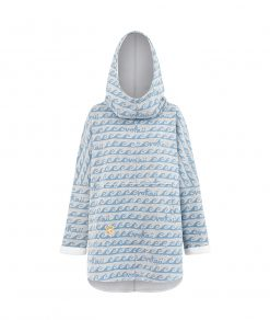 Oversized Hoodie with Surf Wave Pattern and Kangoo Pockets - Waves Front Picture