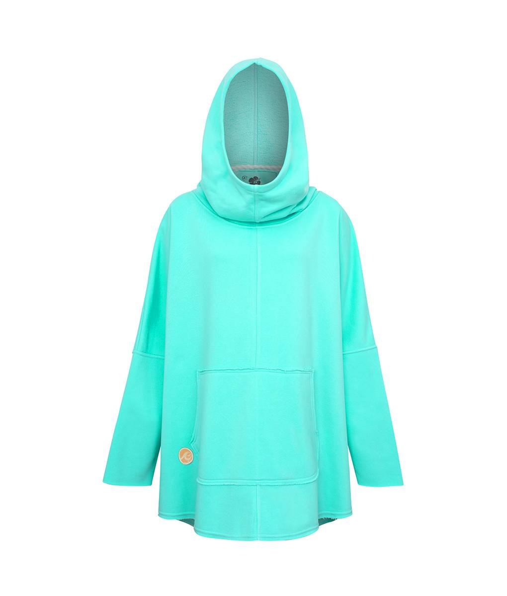 Oversized Hoodie with Surf Wave Pattern and Kangoo Pockets - Ocean Front Picture