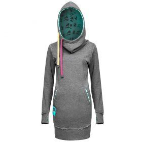 Evokaii Women Surf Style Long Tailed Hoodie - Freestyle Grey-Blue Front