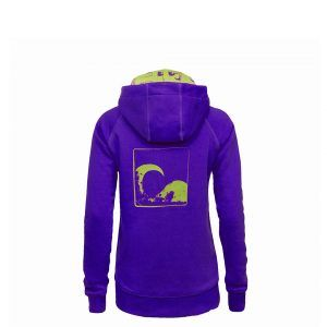 Evokaii Women Surf Style Zipper Hoodie - Wave Purple Back
