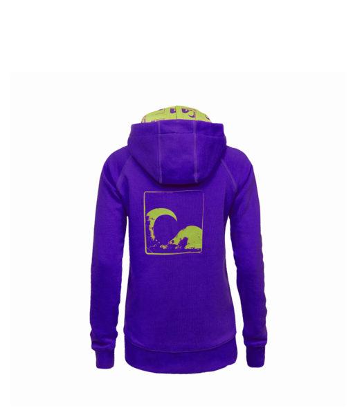 Evokaii Women Surf Style Zipper Hoodie - Wave Purple Back