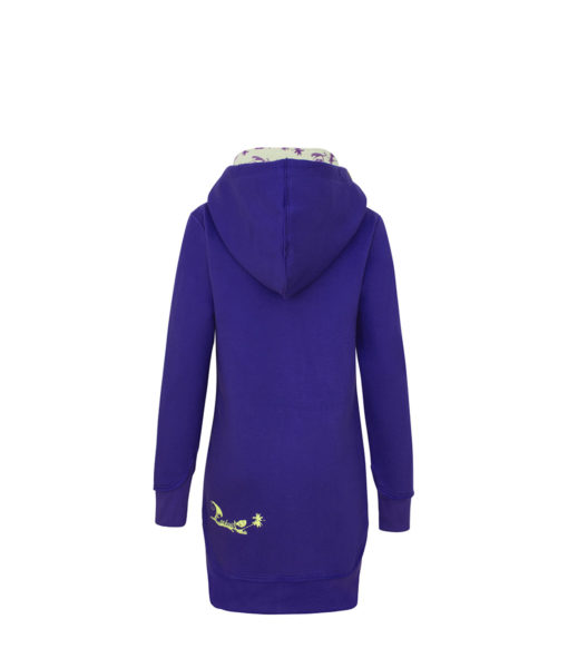 Evokaii Women Surf Style Long Tailed Hoodie - Freestyle Purple Back