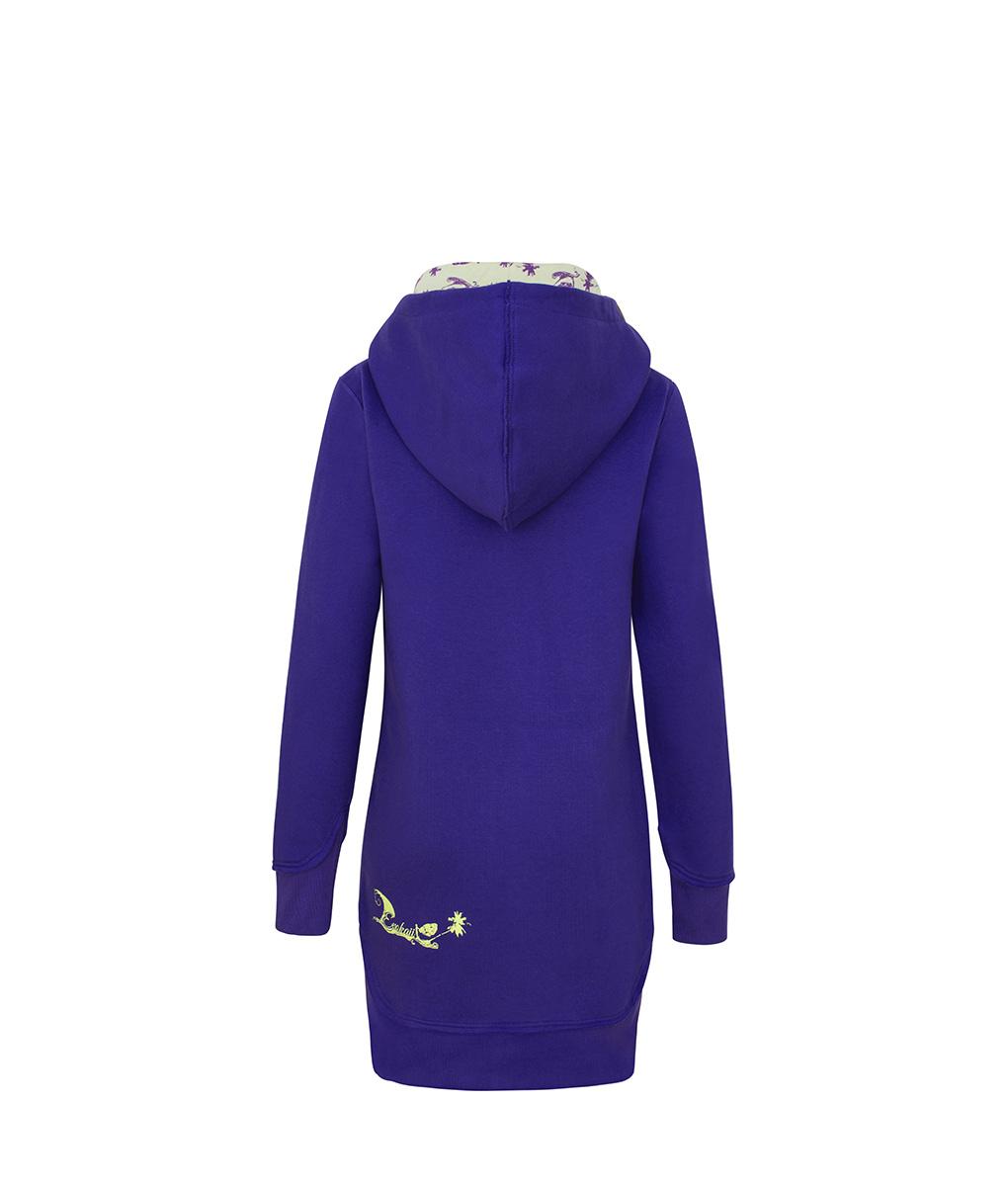 Evokaii Women Surf Style Long Tailed Hoodie - Freestyle Purple Back