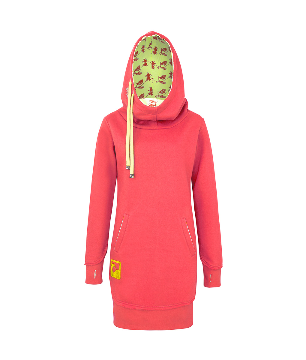 1dfd9af5743 Evokaii Women Surf Style Long Tailed Hoodie - Freestyle Coral Front