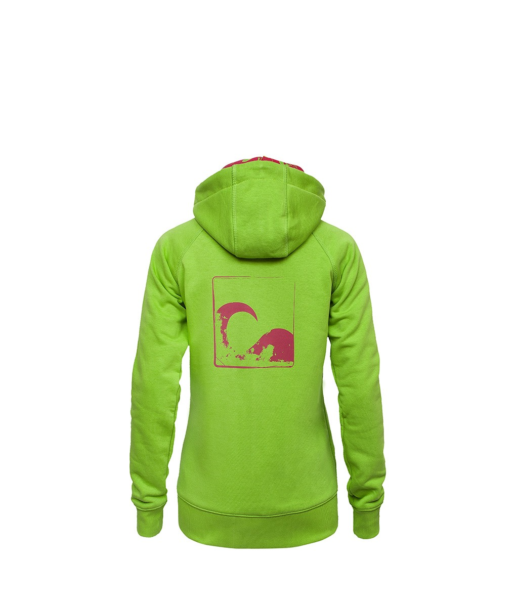 Evokaii Women Surf Style Zipper Hoodie - Wave Green Back