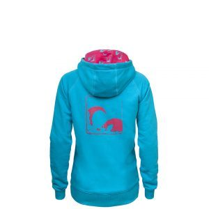 Evokaii Women Surf Style Zipper Hoodie - Wave Blue Back