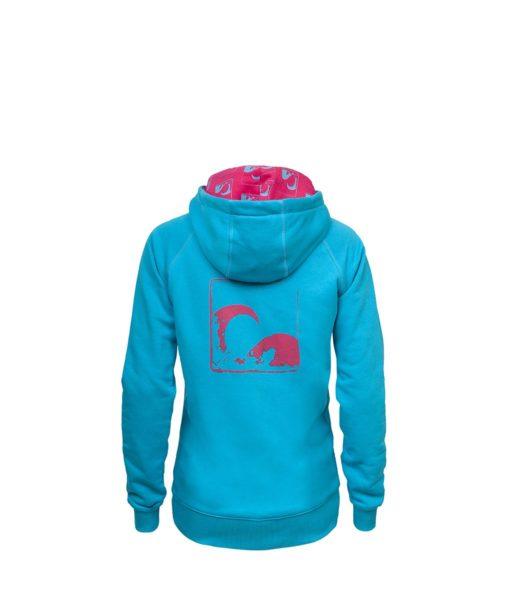 Evokaii Women Surf Style Zipper Hoodie - Wave Blue Back