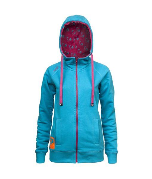 Evokaii Women Surf Style Zipper Hoodie - Wave Blue Front