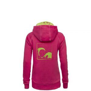 Evokaii Women Surf Style Zipper Hoodie - Wave Pink Back