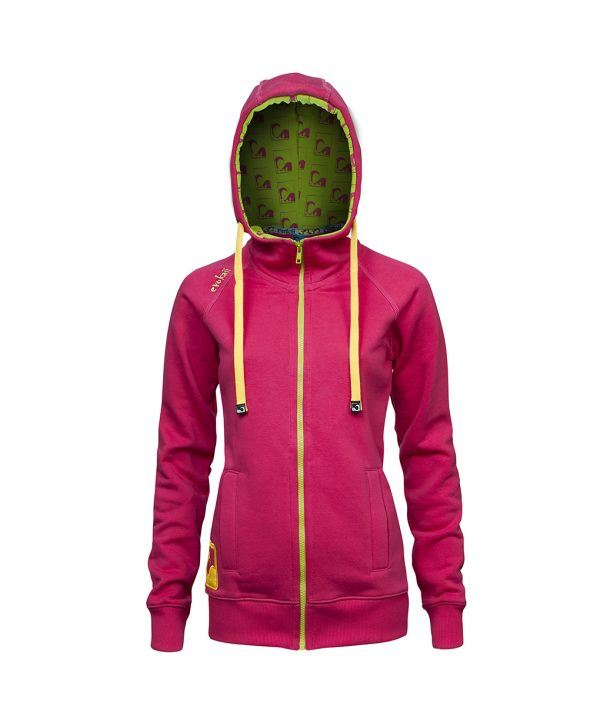 Evokaii Women Surf Style Zipper Hoodie - Wave Pink Front