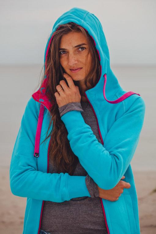 Evokaii Girls Zipper Hoodie - Wave Blue Model Picture