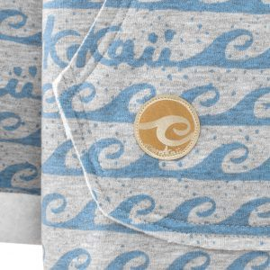 Oversized Hoodie with Surf Wave Pattern and Kangoo Pockets - Waves Pocket Logo Picture