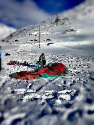 Nadine Stippler setting up her Snowkite gear