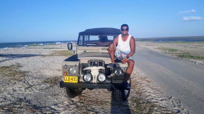 Martin on his Jeep at Mayapo Kitesurf Spot