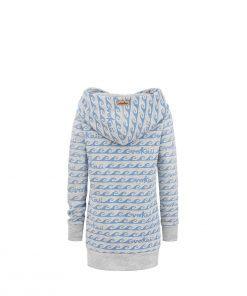 Długa bluza z kapturem i kieszenią w fale - tył