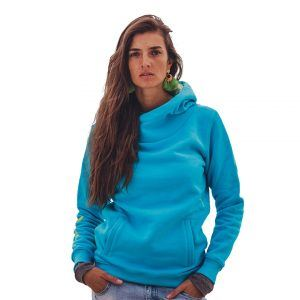 Kamila wearing surf hoodie big hood in blue shown from the front