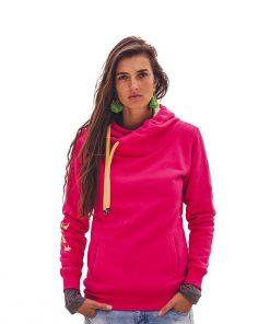 Kamila wearing surf hoodie big hood in pink shown from the front