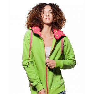 Surf Model Wearing Evokaii Zipper Wave Surf Hoodie Seen From The Front In Green Colour