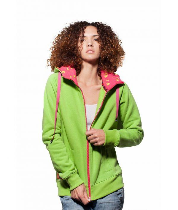 Surf Model Wearing Evokaii Zipper Wave Hoodie Seen From The Back In Green Colour