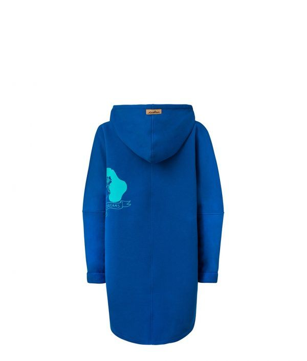 Oversized Hoodie with Kangoo Pockets - Dark Blue Back Picture