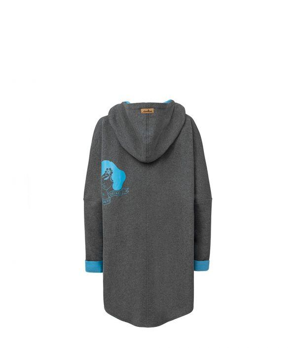 Oversized Hoodie with Kangoo Pockets - Dark Grey Back Picture
