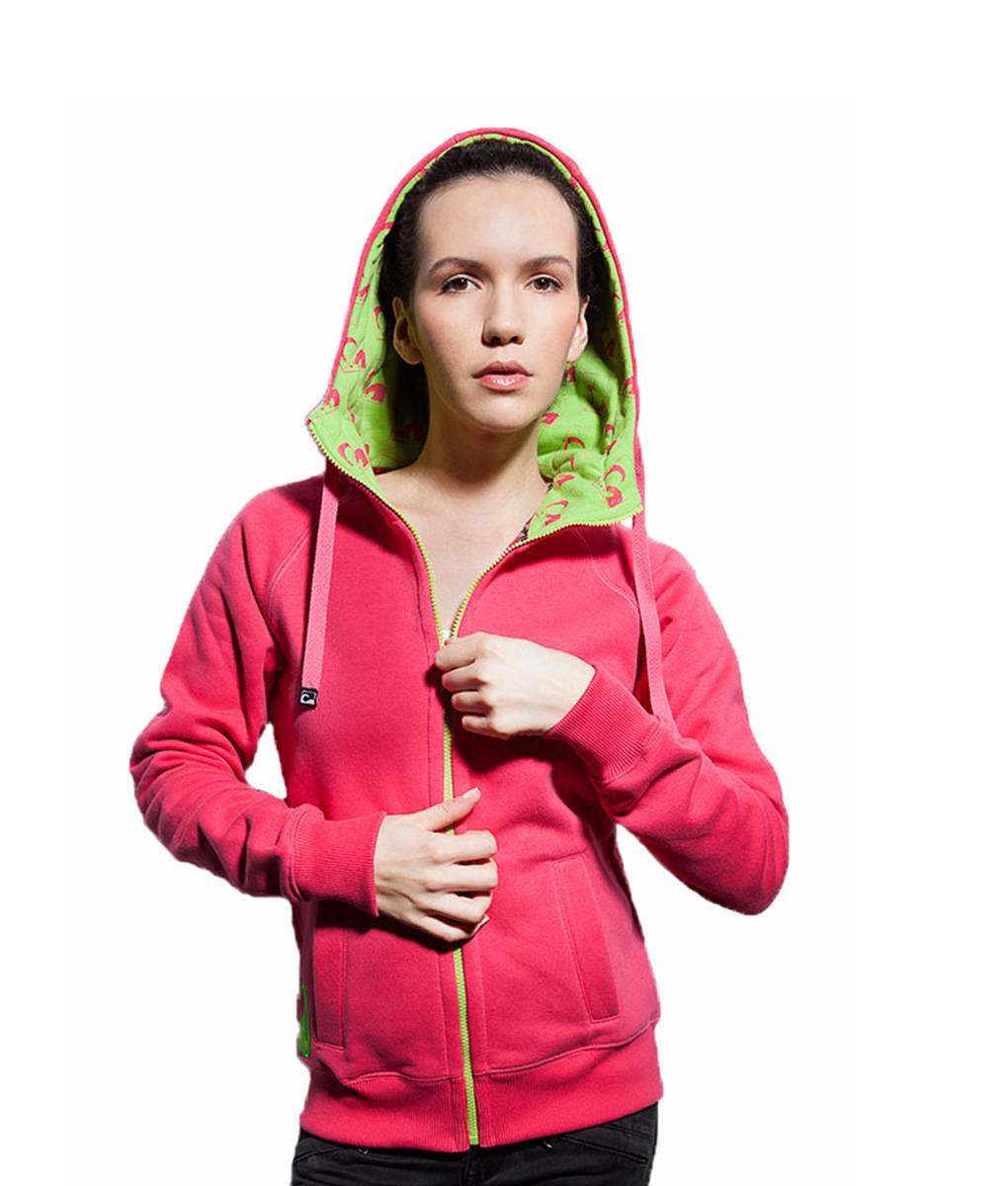 fa70c81b740 Surf Model Wearing Evokaii Zipper Wave Hoodie Seen From The Front In Pink  Colour