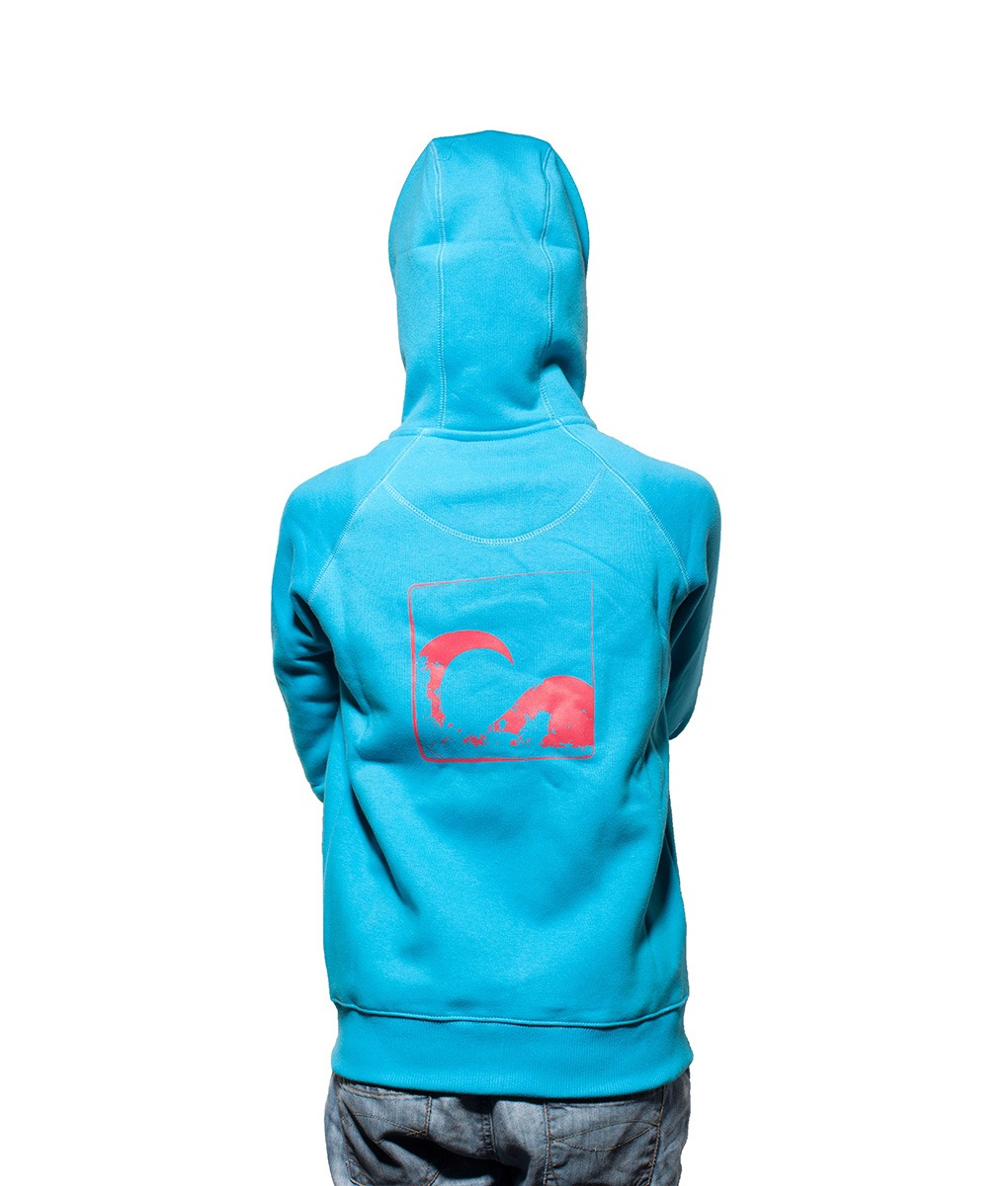0fa592317 Surf Model Wearing Evokaii Zipper Wave Hoodie Seen From The Back In Blue  Colour