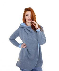 Evokaii Girls Surf Aloha Coat Grey Blue Front Model