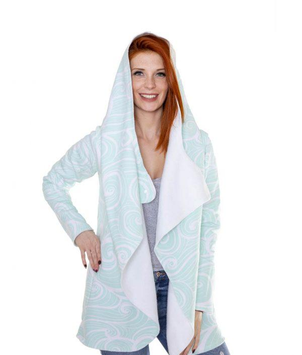 Evokaii Girls Surf Aloha Coat Waves Front Model