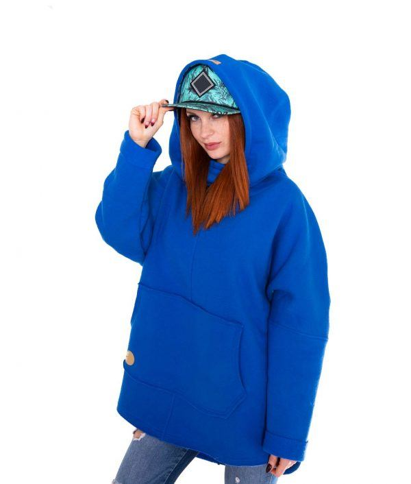 Surf Snowboard Girls Kangoo Oversized Big Hoodie Blue Front Model
