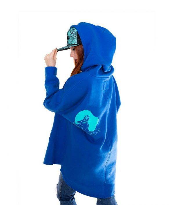 Surf Snowboard Girls Kangoo Oversized Big Hoodie Blue Side Model