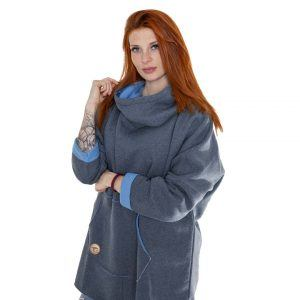 Surf Snowboard Girls Kangoo Oversized Big Hoodie Grey Blue Front Model