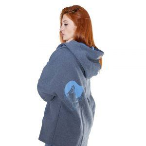 Surf Snowboard Girls Kangoo Oversized Big Hoodie Grey Blue Side Model