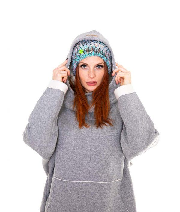 Surf Snowboard Girls Kangoo Oversized Big Hoodie Grey Front Model