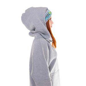 Surf Snowboard Girls Kangoo Oversized Big Hoodie Grey Front Model