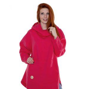 Surf Snowboard Girls Kangoo Oversized Big Hoodie Pink Front Model
