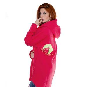 Surf Snowboard Girls Kangoo Oversized Big Hoodie Pink Side Model