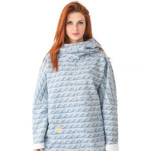 Surf Snowboard Girls Kangoo Oversized Big Hoodie Grey Waves Front Model