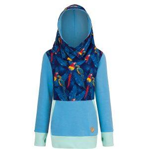 Cotton Hoodie Blue With Parrots Design Front