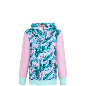 Cotton Hoodie Pink With Pink Feathers Design Front