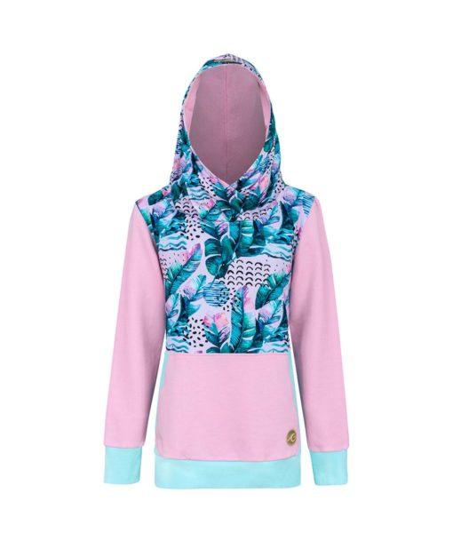 Bluza z piórami: Candy Hoodie Pink Feathers - przód