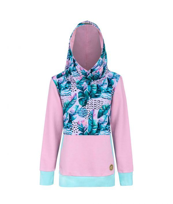 Surf Hoodie Pink Feathers Overprint With Mint Borders