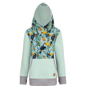 Cotton Surf Hoodie Mint With Tropical Toucan Design Front