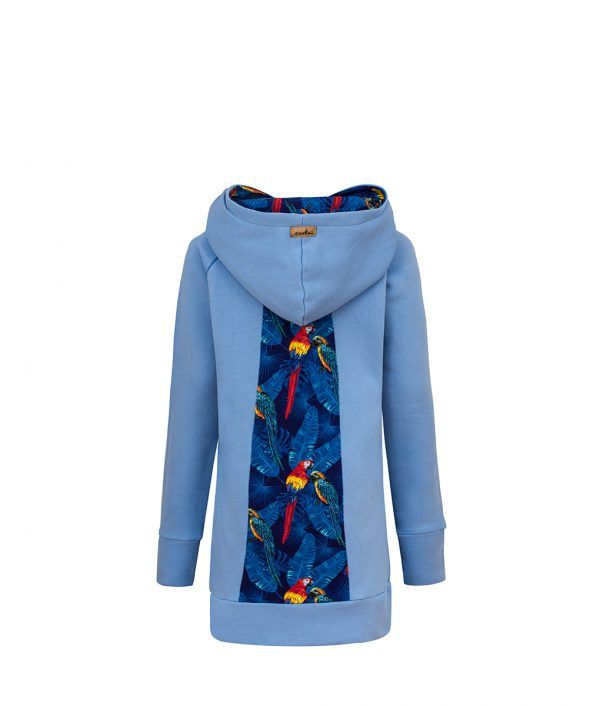 Long Cotton Hoodie Blue With Parrots Design Back