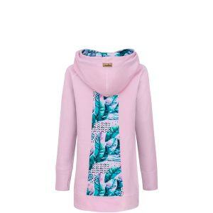 Long Cotton Hoodie Pink With Pink Feathers Design Back