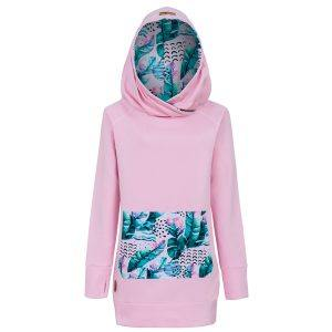 Long Cotton Hoodie Pink With Pink Feathers Design Front