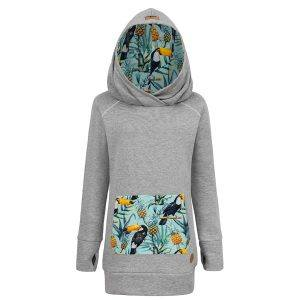 Long Cotton Hoodie Grey With Tropical Toucan Design Front