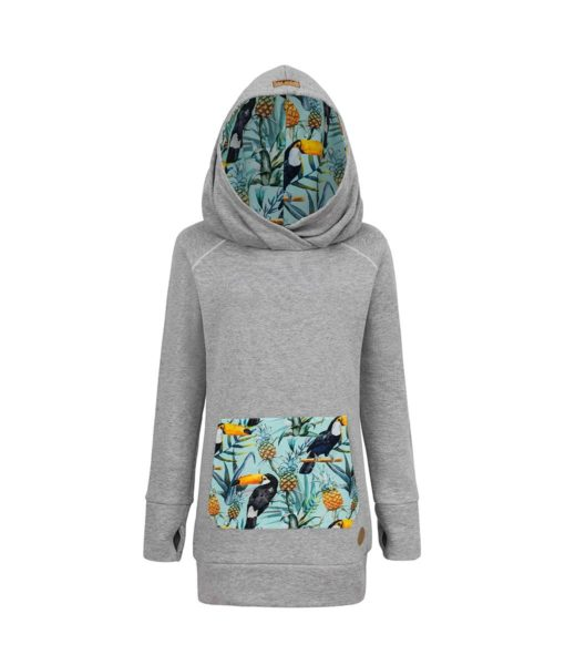 Long Cotton Surf Hoodie Grey With Tropical Toucan Design Front